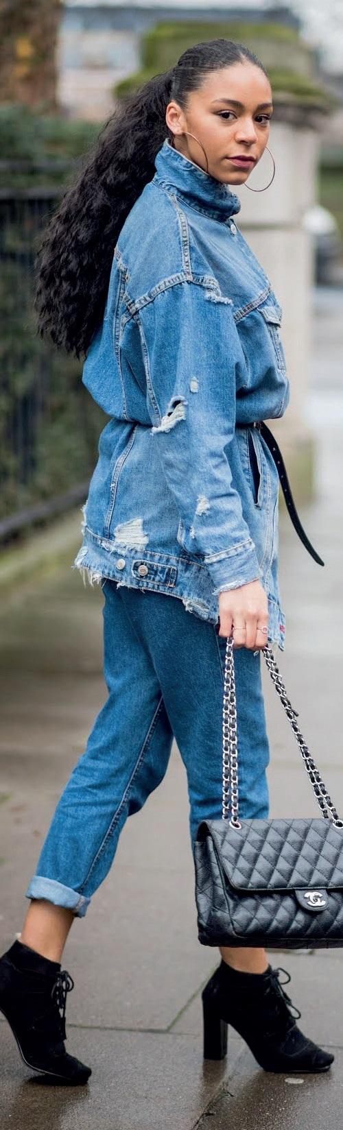 A three-piece denim outfit