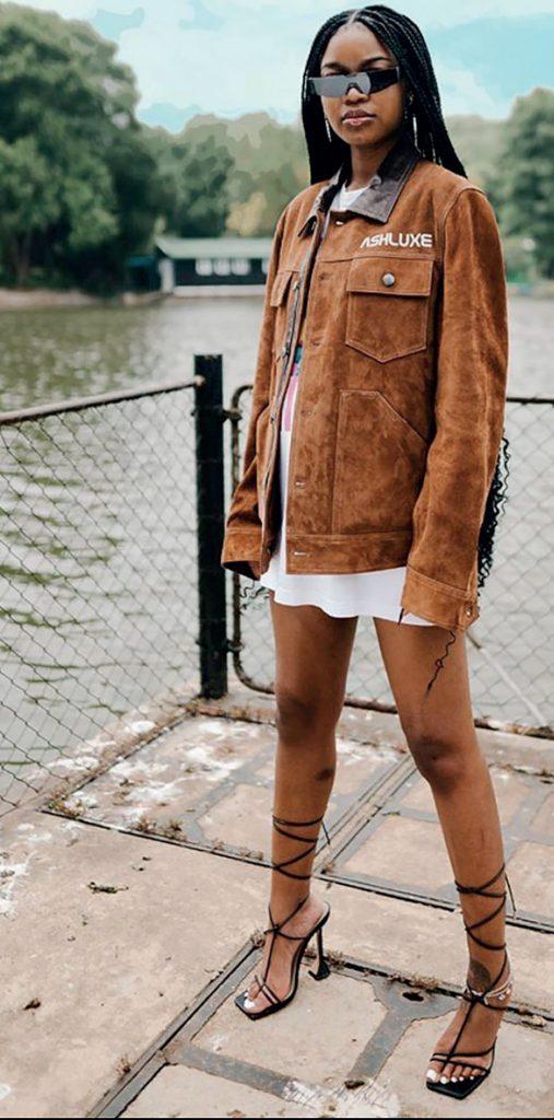 An oversized denim jacket over a short
