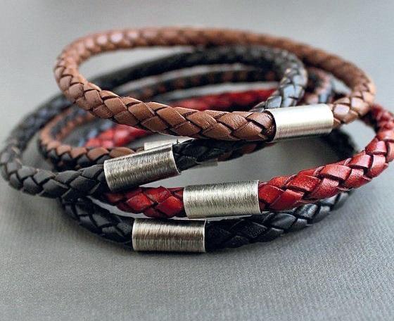 A stack of Leather bracelets